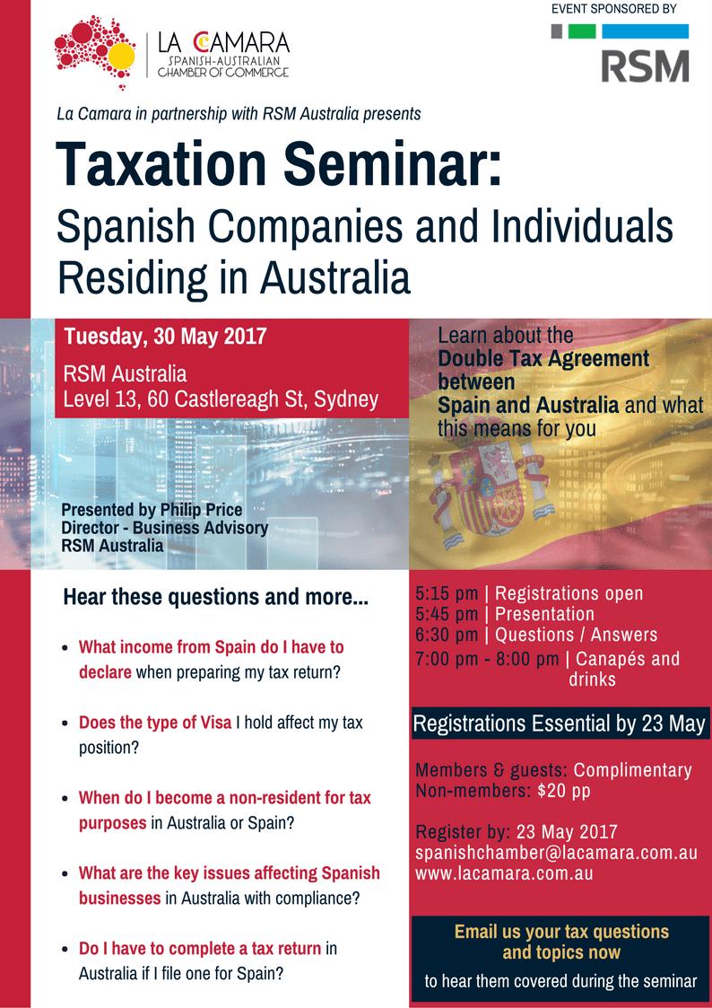 Invitation Taxation Seminar 30 May 2017 Sydney